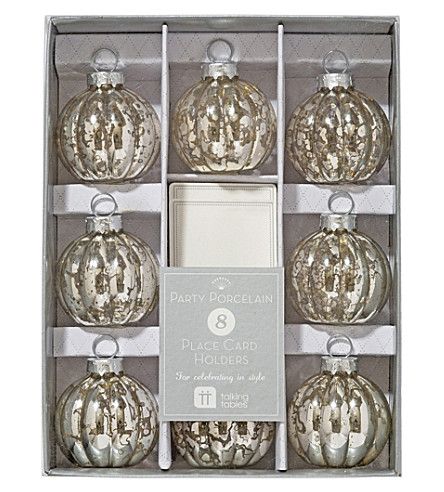 TALKING TABLES Silver bauble place card holders