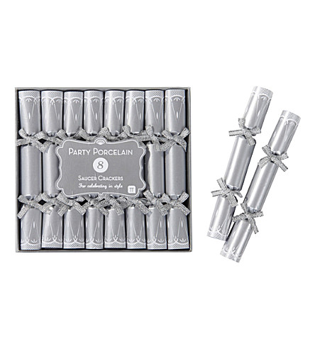 TALKING TABLES Silver saucer Christmas crackers pack of 8