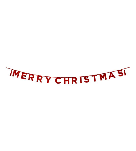 TALKING TABLES Merry christmas red glitter banner