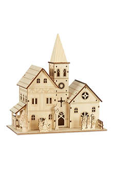 PREMIER DECORATIONS Light up wooden church 21cm