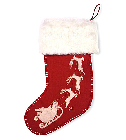 LONDON Jan Constantine santa and sleigh felt-wool stocking