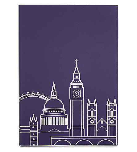 UNDER COVER London skyline recycled leather A5 notebook