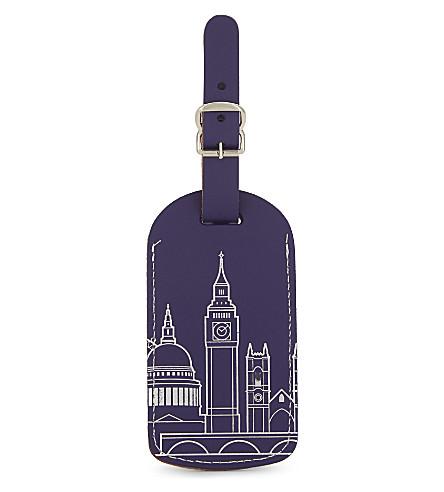 覆盖伦敦地平线再生皮革行李标签