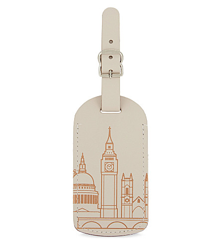 UNDER COVER London skyline recycled leather luggage tag