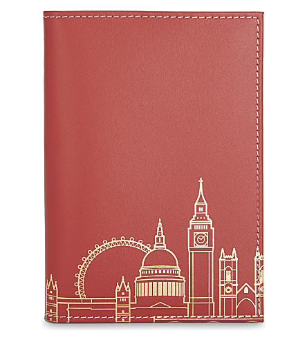 UNDER COVER London skyline recycled leather passport cover