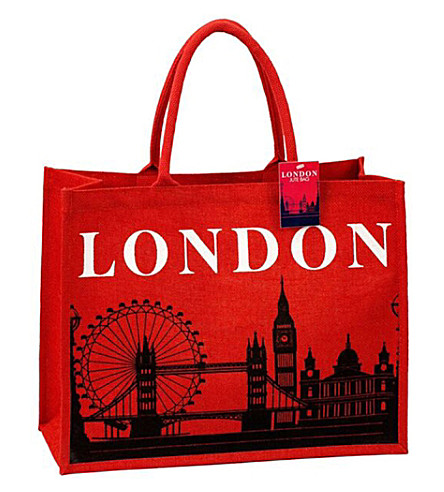 LONDON London Skyline Jute Tote Bag