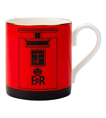 HALCYON DAYS London Post Box fine bone china mug