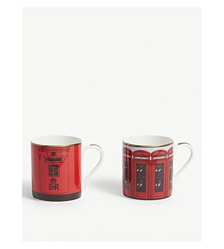 HALCYON DAYS Telephone box and postbox mugs set of two