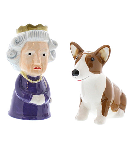 LONDON Queen and corgi salt and pepper shakers set