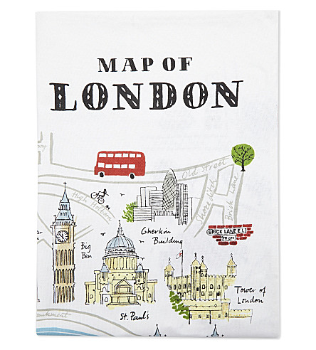 LONDON London print cotton tea towel