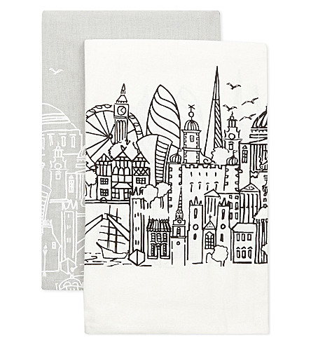 LONDON London skyline tea towels pack of two