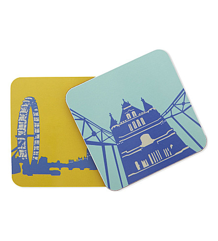 SNOWDEN Set of four London landmark coasters