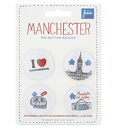 TALENTED Manchester pin button badges set of four
