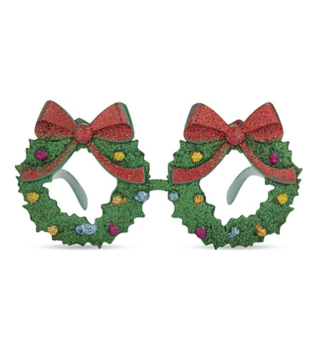 DRESS UP Novelty Christmas wreath glasses