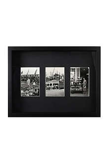 Black wood triple photo frame 4
