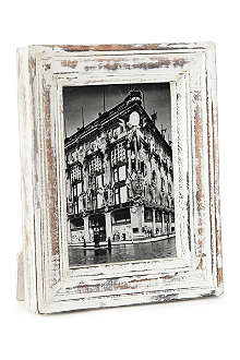 NKUKU Jasailmer aged wood photo frame white 5x7""