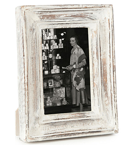 NKUKU Jasailmer aged wood photo frame white 6x4""