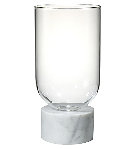 LEE BROOM Podium Cylinder marble and glass vase
