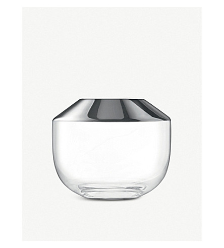 LSA Space glass and metal vase 15cm