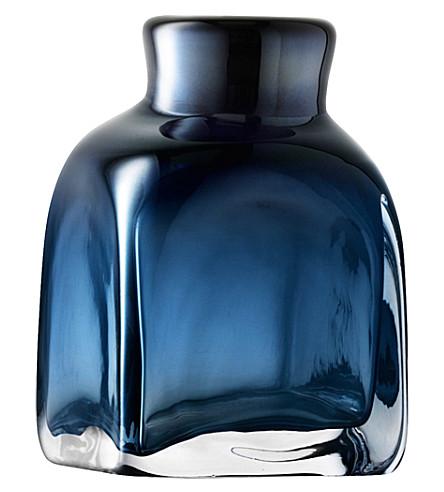 LSA Taffeta vase h17cm sapphire blue