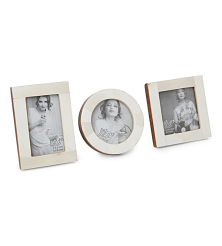 BRIGHT IDEAS White bone set three photo frames