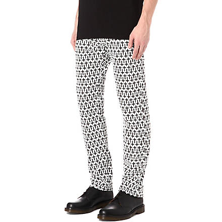 MCQ ALEXANDER MCQUEEN Cross slim-fit skinny jeans (Black/white