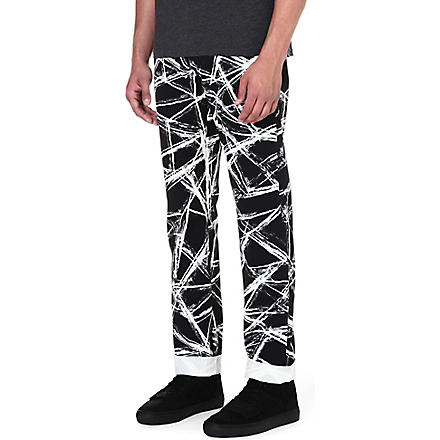 MCQ ALEXANDER MCQUEEN Scratch-print regular-fit straight jeans (Black