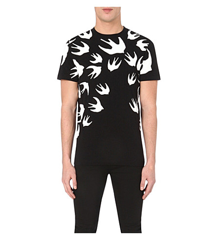 MCQ ALEXANDER MCQUEEN Swallow-print cotton-jersey t-shirt (Black