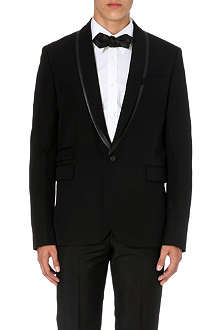 MCQ ALEXANDER MCQUEEN Leather-trimmed shawl-lapel wool blazer