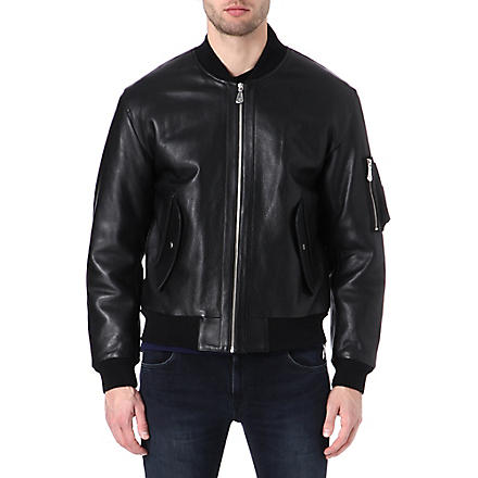 MCQ ALEXANDER MCQUEEN MA-1 leather bomber jacket (Black