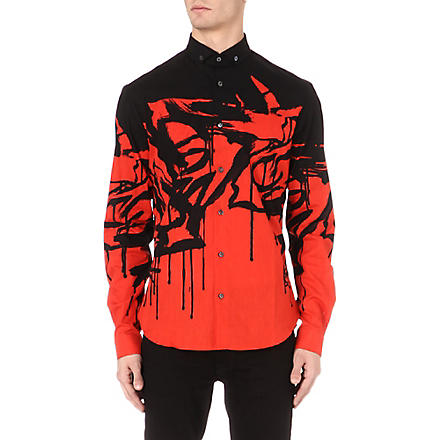 MCQ ALEXANDER MCQUEEN Swallow-print shirt (Red