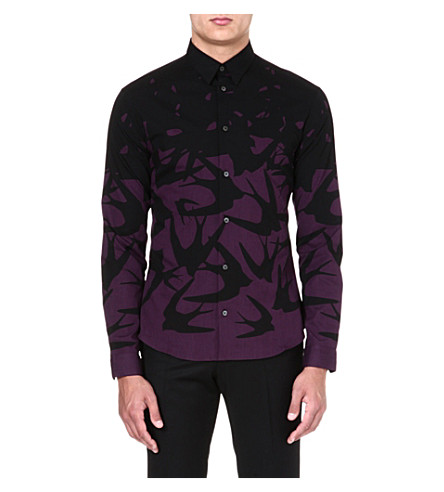 MCQ ALEXANDER MCQUEEN Swallow-print cotton shirt (Port