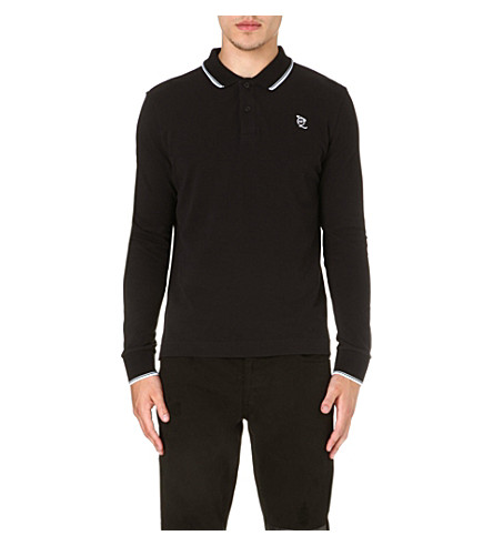MCQ ALEXANDER MCQUEEN Logo-detailed long-sleeved polo shirt (Black