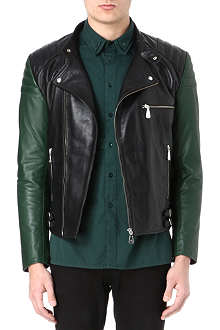 MCQ ALEXANDER MCQUEEN Contrast sleeve leather biker jacket