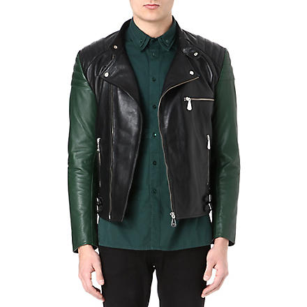 MCQ ALEXANDER MCQUEEN Contrast sleeve leather biker jacket (Darkest black/pine