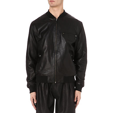 MCQ ALEXANDER MCQUEEN Leather bomber jacket (Black