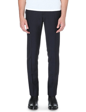 MCQ ALEXANDER MCQUEEN Faux-leather trim wool-blend trousers