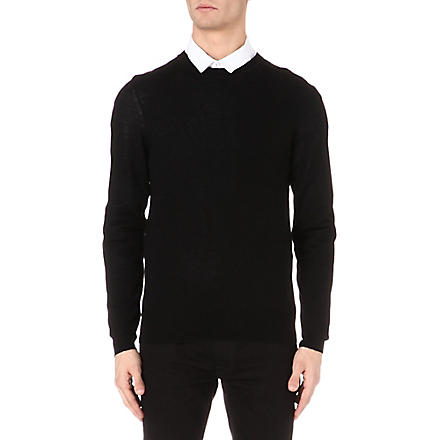MCQ ALEXANDER MCQUEEN Logo-embroidered knitted jumper (Black