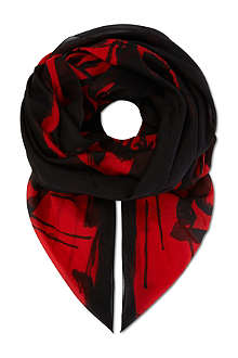MCQ ALEXANDER MCQUEEN Dripping swallow cotton scarf
