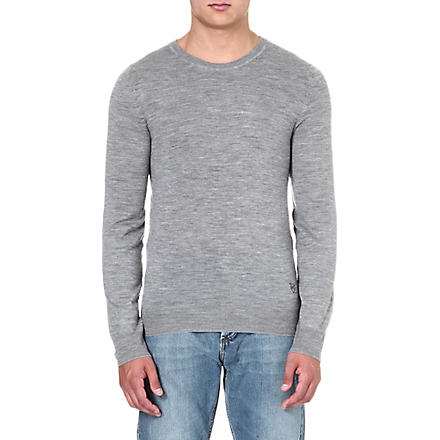 MCQ ALEXANDER MCQUEEN Logo-embroidered knitted jumper (Grey