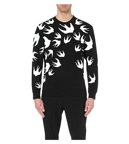 MCQ ALEXANDER MCQUEEN Swallow-motif cotton-blend jumper (Black
