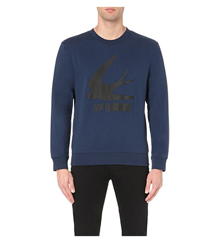 MCQ ALEXANDER MCQUEEN Swallow-print cotton-jersey sweatshirt (Dark+navy