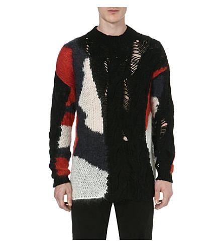 MCQ ALEXANDER MCQUEEN Laddered mohair-blend jumper (Multi