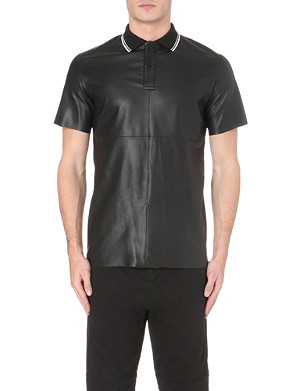 MCQ ALEXANDER MCQUEEN Ribbed jersey-collar leather polo shirt