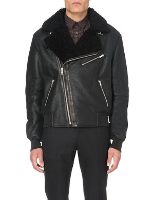MCQ ALEXANDER MCQUEEN Shearling and leather biker jacket