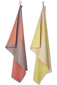 HAY Set of two layer dot tea towels