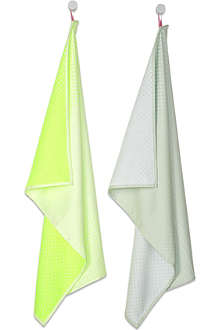 HAY Set of two block dot tea towels