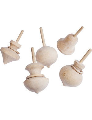 HAY Wooden spinning top set
