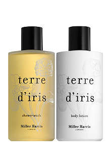 MILLER HARRIS Terre d'Iris shower wash and body lotion gift set