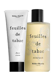 MILLER HARRIS Feuilles de Tabac shower wash and shaving cream gift set